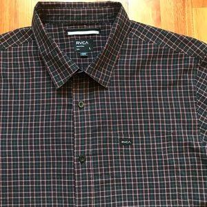 RVCA Plaid L/S Button Up Shirt Mens Large Slim Fit